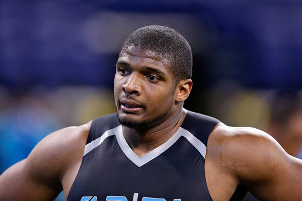INDIANAPOLIS, IN - FEBRUARY 24: Former Missouri defensive lineman Michael Sam looks on during the 2014 NFL Combine at Lucas Oil Stadium on February 24, 2014 in Indianapolis, Indiana. (Photo by Joe Robbins/Getty Images) *** Local Caption *** Michael Sam