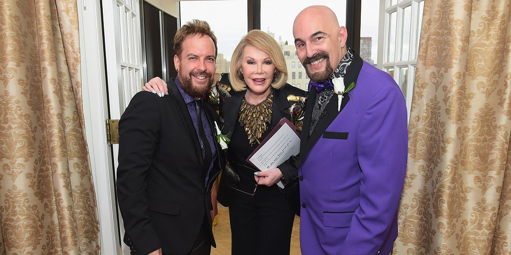 "NEW YORK, NY - AUGUST 15: (EXCLUSIVE ACCESS, SPECIAL RATES APPLY) TV personality Joan Rivers officiates the gay wedding of William ""Jed"" Ryan (L) and Joseph Aiello at the Plaza Athenee on August 15, 2014 in New York City. (Photo by Michael Loccisano/Getty Images)"