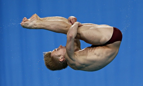 England's Jack Laugher on his way to gold in the men's 1m springboard final at the 2014 Commonwealth