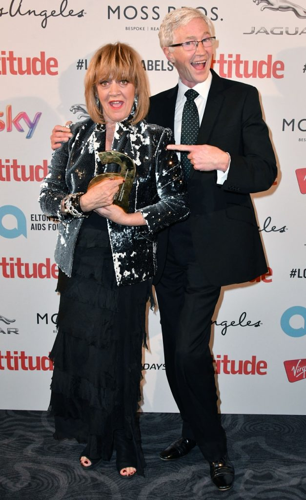 Mandatory Credit: Photo by Nils Jorgensen/REX/Shutterstock (6196672fo) Amanda Barrie, Icon Award for Outstanding Achievement Award, with Paul O'Grady Attitude Magazine Awards, London, UK - 10 Oct 2016 Gay lifestyle magazine's awards ceremony celebrating entertainment, lifestyle, politics and fashion, sponsored by Virgin Holidays, this year's awards benefits the Elton John Aids Foundation, at 8 Northumberland Avenue, London.