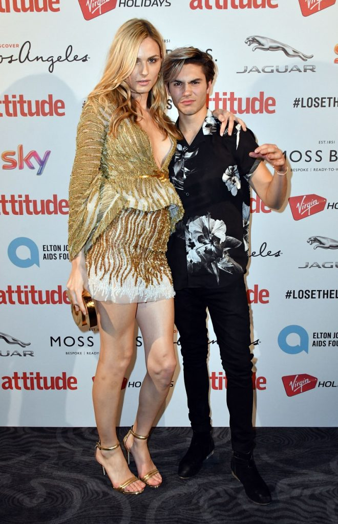 Mandatory Credit: Photo by Nils Jorgensen/REX/Shutterstock (6196672ii) Andrea Pejic, Icon Award for Outstanding Achievement Award Winner, with George Shelley Attitude Magazine Awards, London, UK - 10 Oct 2016 Gay lifestyle magazine's awards ceremony celebrating entertainment, lifestyle, politics and fashion, sponsored by Virgin Holidays, this year's awards benefits the Elton John Aids Foundation, at 8 Northumberland Avenue, London.
