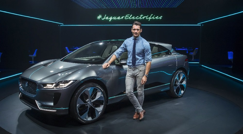 """This is the future; we are here"" - Jaguar ambassador David Gandy, pictured with the the new Jaguar I-Pace."