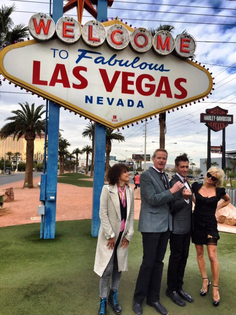 Dan and partner Jack tie the knot in Las Vegas, 2014, joined by Pamela Anderson.