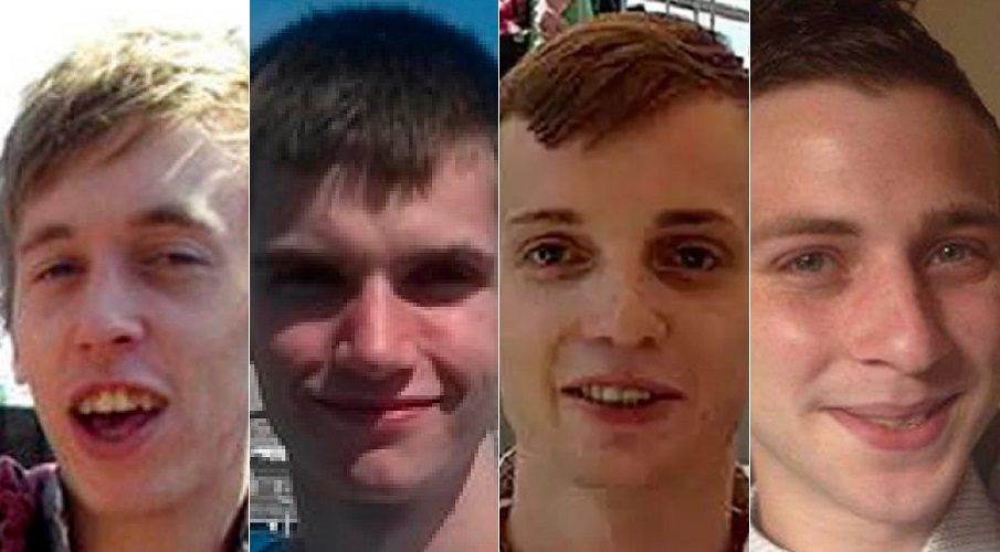 From left to right: Port's victims Anthony Walgate, Gabriel Kovari, Daniel Whitworth and Jack Taylor.